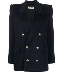 navy double-breasted tailored blazer