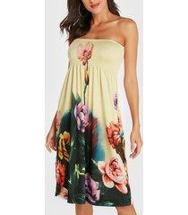 beige floral print shirred strapless dress