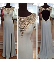 beautiful jewels neck silver grey crystals slit side prom dress/evening dresses