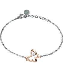 bracciale farfalla con strass in acciaio bicolore per donna