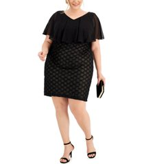 connected plus size overlay sheath dress