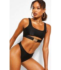 lion trim high waist bikini briefs, black