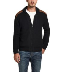 men's fz sweater jacket with suede patches