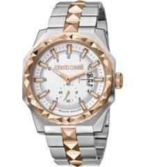 roberto cavalli by franck muller men's swiss quartz two-tone stainless steel bracelet watch 43mm