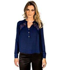 blusa com renda lume feminina