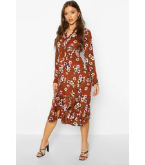 floral high neck pussybow midi dress, tan