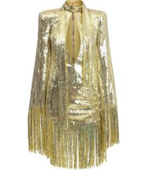 mini-jurk met lovertjes en franjes