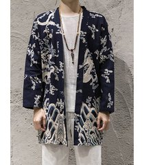 incerun hombres casual all print print color block national wind sunscreen cardigan