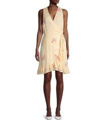 rails women's ruffled floral wrap dress - eden - size m