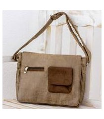 faux leather messenger bag, 'preparedness in burnt sienna' (costa rica)