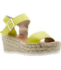 andre assous nakita platform wedge sandal, size 11 in straw lemon nappa leather at nordstrom