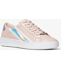mk sneaker slade in pelle a righe metallizzate - rosa tenue (rosa) - michael kors