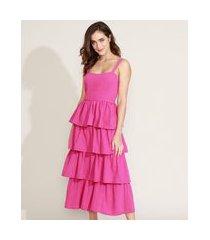 vestido feminino mindset midi em camadas alça média pink