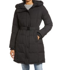 women's sam edelman pillow collar belted puffer coat, size x-large - black