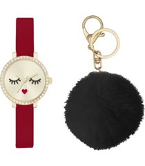 jessica carlyle women's analog red strap glam watch 28mm with black fluff ball key chain cubic zirconia gift set
