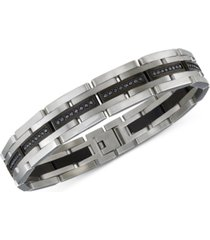 esquire men's jewelry diamond bracelet (1 ct. t.w.) in stainless steel and black ion-plating, created for macy's