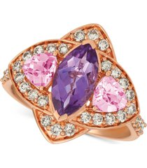 le vian multi-gemstone (1-9/10 ct. t.w.) & nude diamond (5/8 ct. t.w.) ring in 14k rose gold