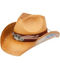 angela & william cowboy hat with eagle badge and american flag trim band