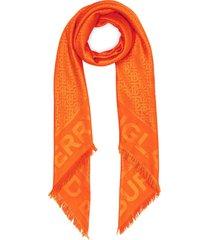 burberry monogram patterned frayed edge scarf - orange