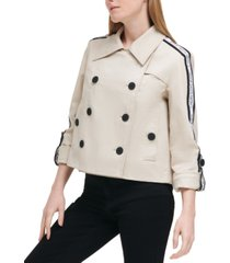 calvin klein jeans cropped logo tape trench coat