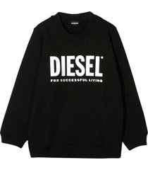 diesel black teen sweater with frontal press