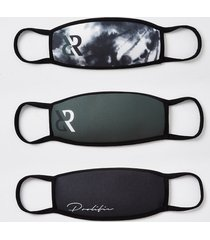 river island boys black tie dye 3 pack face coverings