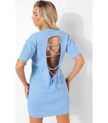 gebreide mini jurk met rug detail, pastel blue