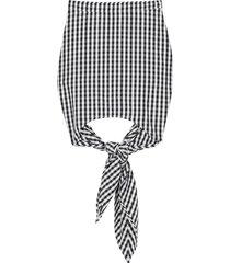 burberry gingham scarf-tie mini skirt - black