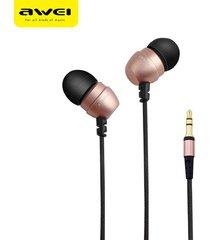 audífonos, q8 super deep estéreo nylon atado con alambre auriculares de metal en el oído para el teléfono reproductores de mp3 3,5 mm jack para sony iphone samsung (oro rosa)