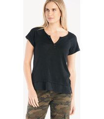 sanctuary women's flirt mix tee in color: black size large from sole society