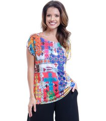 blusa 101 resort wear tunica ampla decote careca estampada multicolorida