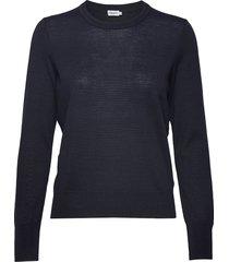 merino r-neck sweater gebreide trui blauw filippa k