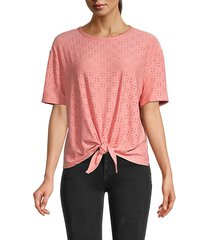 knotted eyelet t-shirt