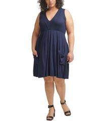 calvin klein plus size pleated-neck a-line dress
