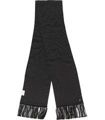 saint laurent rhinestone embellished smoking scarf - black