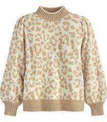 adyson parker women's leopard puff shoulder sweater