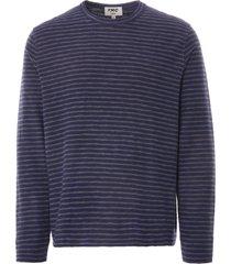 ymc x cotton jersey stripe sweatshirt | navy/grey | p7pat-40