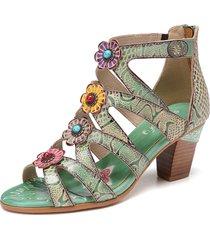 socofy bohemia - decolleté con perline in pelle con decoro di fiori modello sandali con tacco comodi con tacco largo