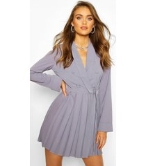 boohoo occasion double breasted blazer dress, grey