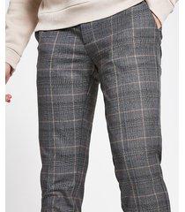 river island mens dark grey check super skinny cropped trousers