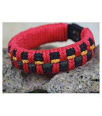 men's wristband bracelet, 'red ananse web' (ghana)