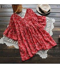 zanzea verano de las mujeres de manga corta con cuello en v de flores retro floja de gran tamaño de la blusa tops tee -rojo