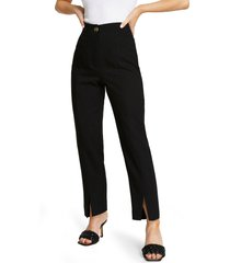 river island front slit cigarette trousers, size 6 us in black at nordstrom