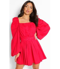 cotton square neck rouched belted skater dress, red