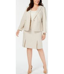 le suit plus size seamed pleated skirt suit
