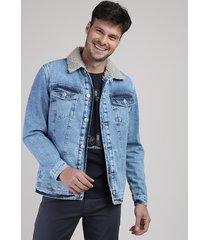 jaqueta jeans masculina com bolsos e pelo azul médio