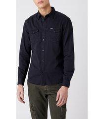 overhemd lange mouw wrangler chemise wranger à poches dark navy