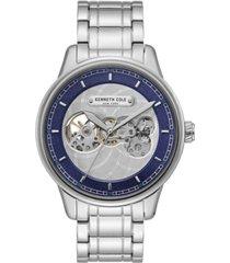 kenneth cole new york men's silver-tone stainless steel bracelet watch, 44.5mm