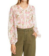 women's loveshackfancy goodwin floral print silk blouse, size small - pink