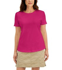 karen scott cotton short-sleeve crewneck top, created for macy's